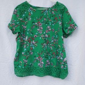 Van Heusen green floral lace hem blouse xl